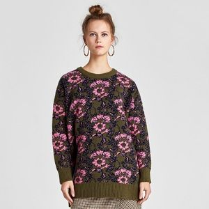 NWT Zara Floral Jacquard Sweater Green Pink